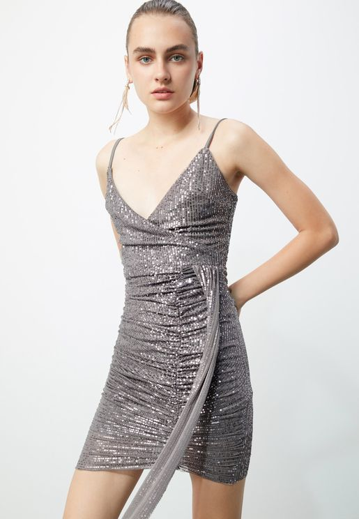 Ruched Detail Sequin Wrap Dress