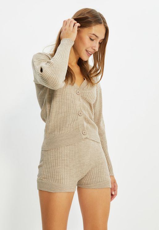 Button Detail Knitted Top & Shorts Set