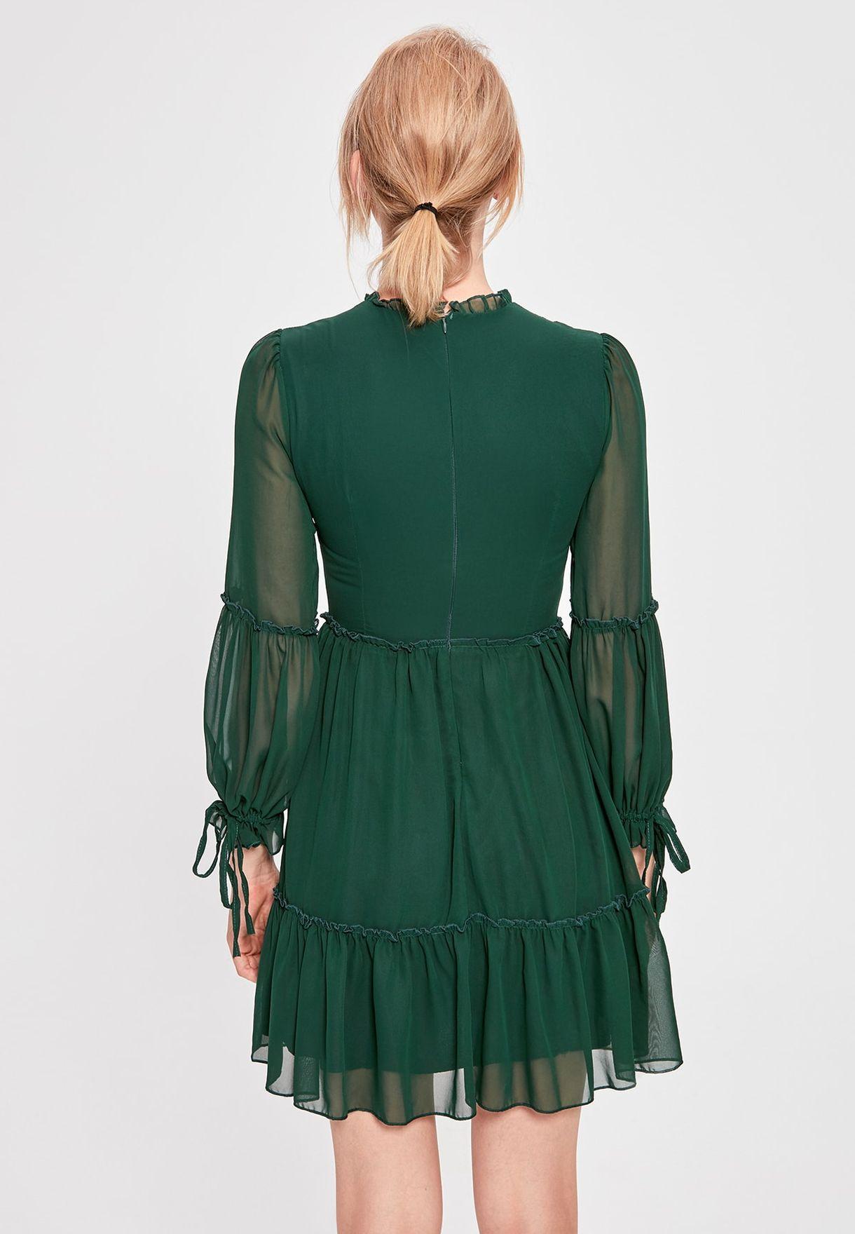 Ruffle Hem Sheer Sleeve Dress