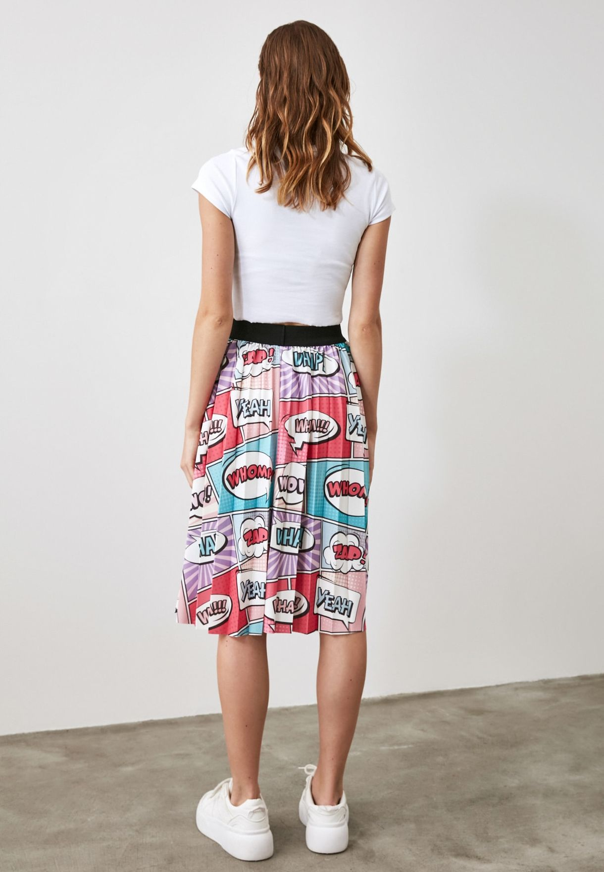 Pleated Printed Skirt