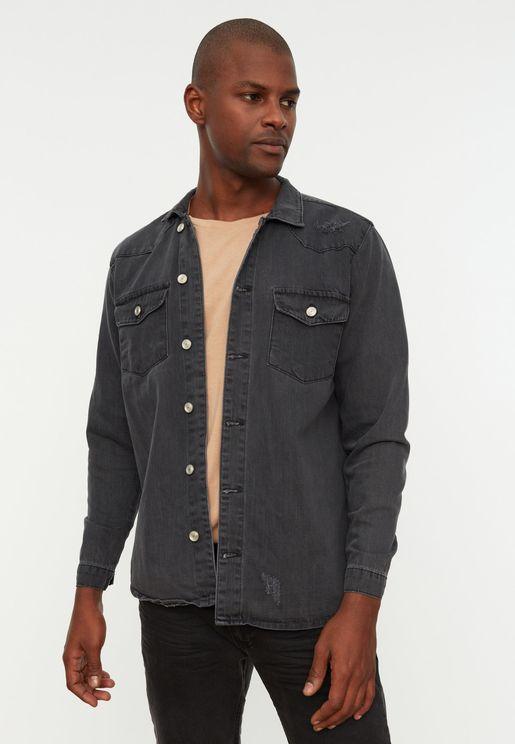 Rinse Distressed Denim Jacket