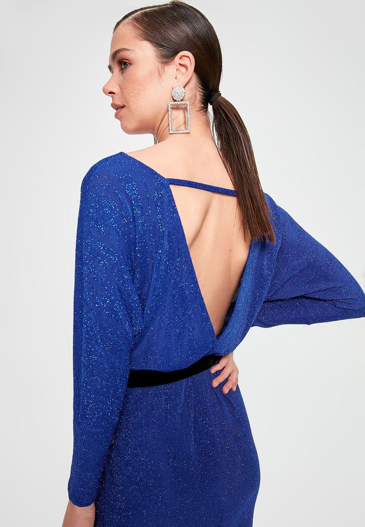 Buy Trendyol Blue Glitter Maxi Dress For Women, Uae 27680atuzowp