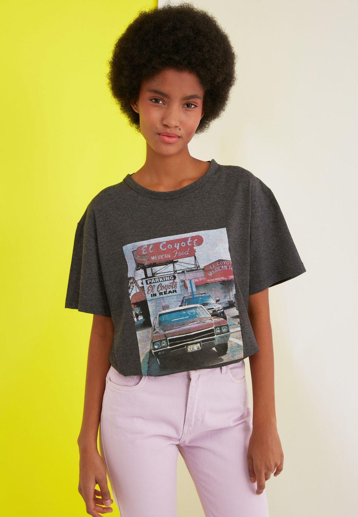 Printed Boyfriend Knitted T-Shirt