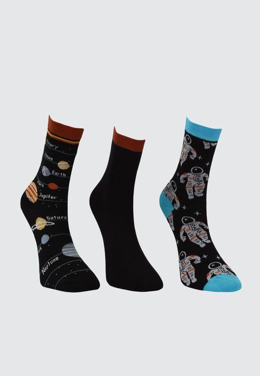 3 Pack Printed Socks