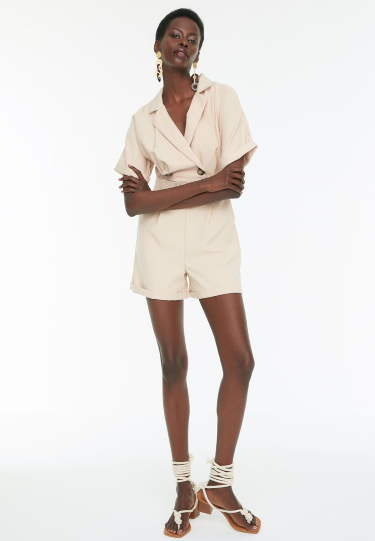 Double Breasted Roll Hem Playsuit