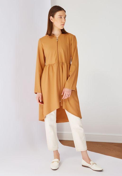 Zip Detail Pleated Abaya