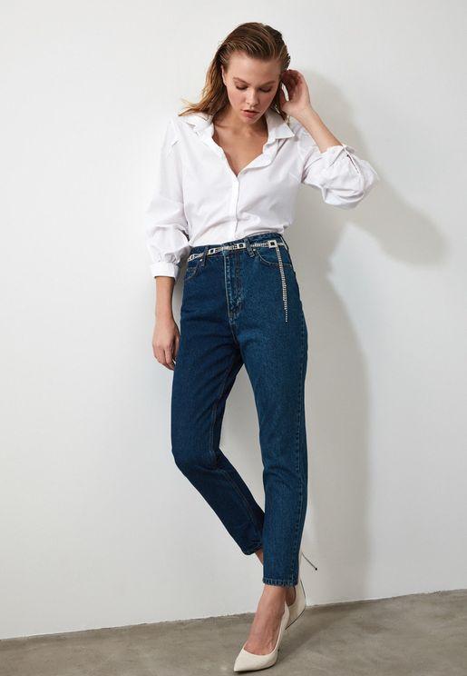 جينز بنمط كتل الالوان