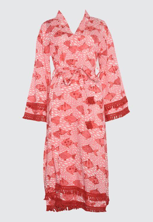 Fringe Detail Printed Kimono