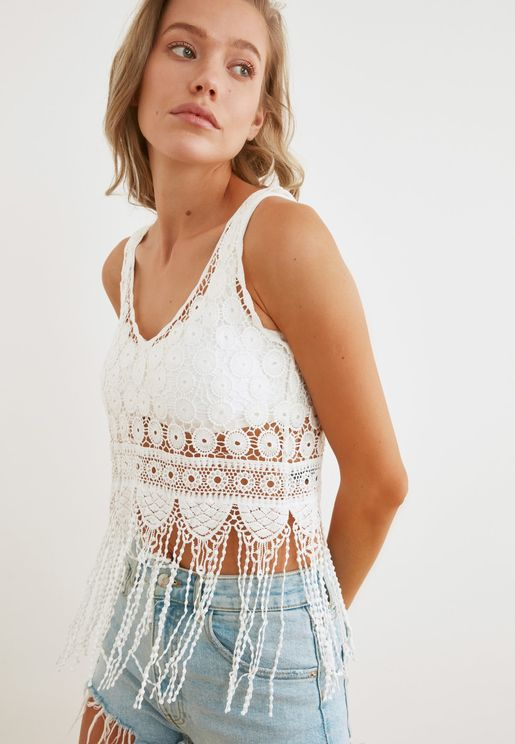 Lace Detail Knitted Top