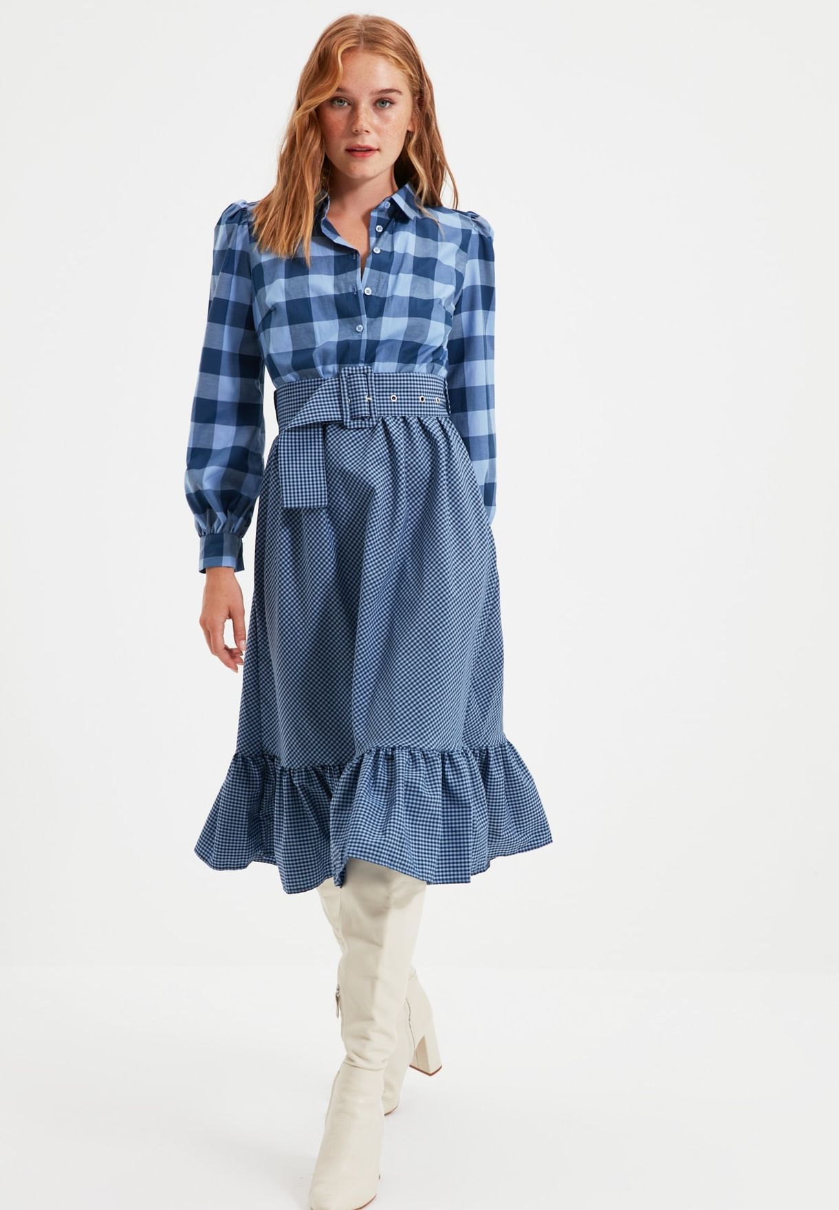 Checked Pleated Shirt Dress