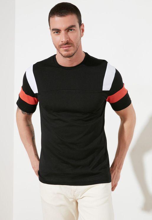 Contrast Sleeve Crew Neck T-Shirt
