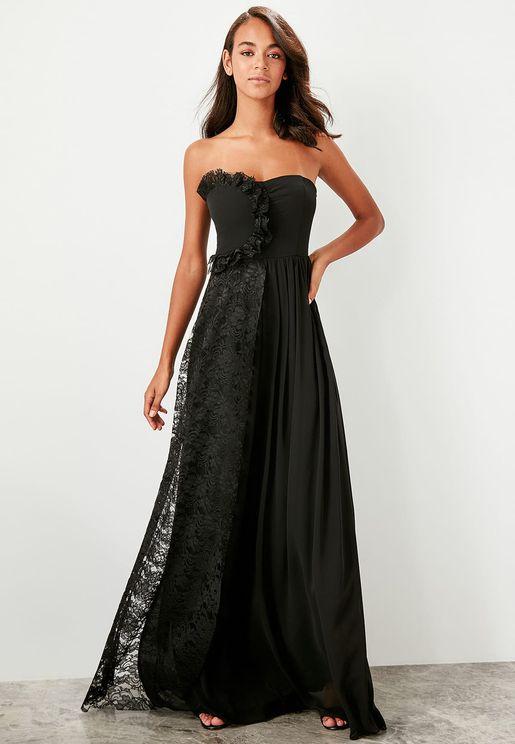 Lace Detail Bandeau Dress