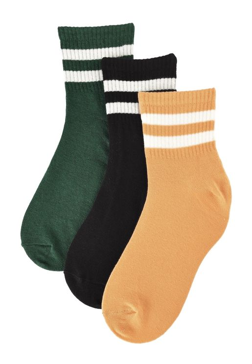 3 Pack Ankle Striped Detail Socks