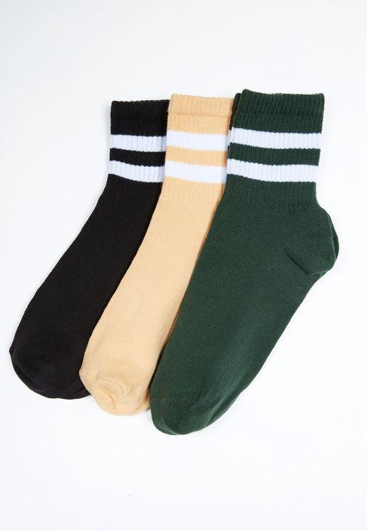 3 Pack Ankle Striped Detail Socks