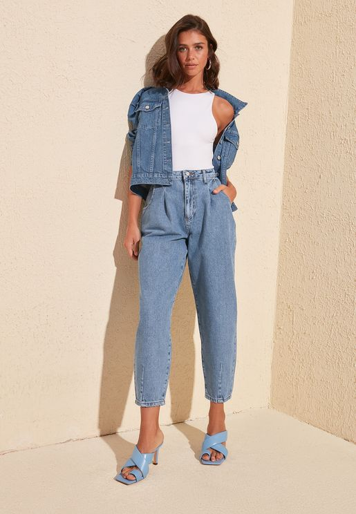 High Waist Pleat Detail Jeans
