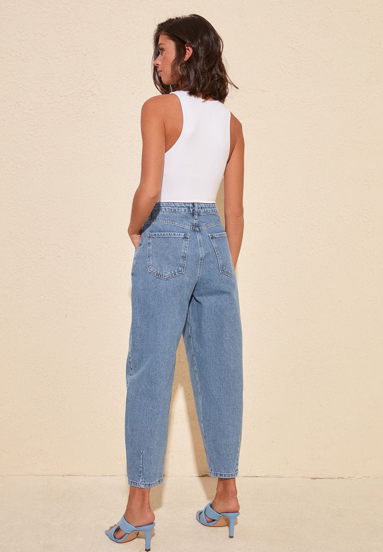 High Waist Pleat Detail Jeans
