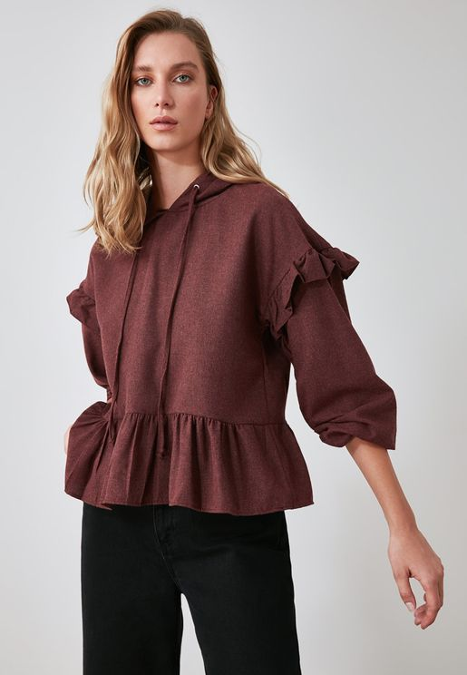 Hooded Peplum Top