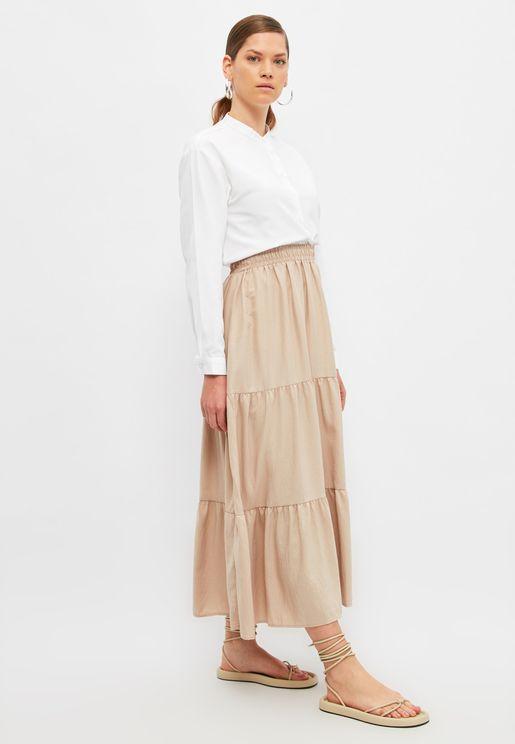 Tiered Hem Midi Skirt