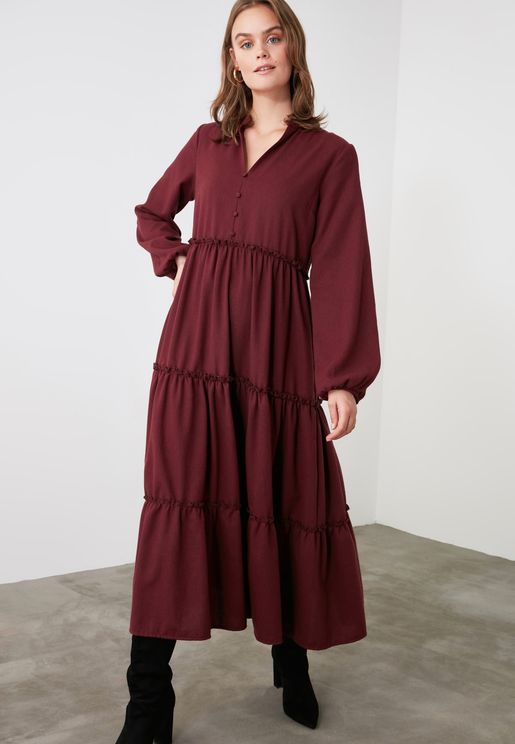 Balloon Sleeve Pleated Dress