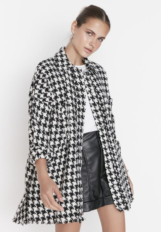 Oversize Checked Coat