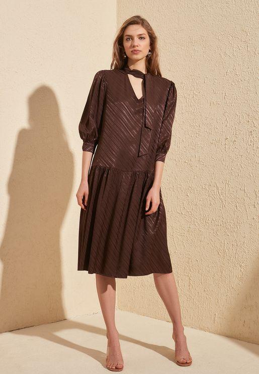 Tiered Pleat Detail Dress