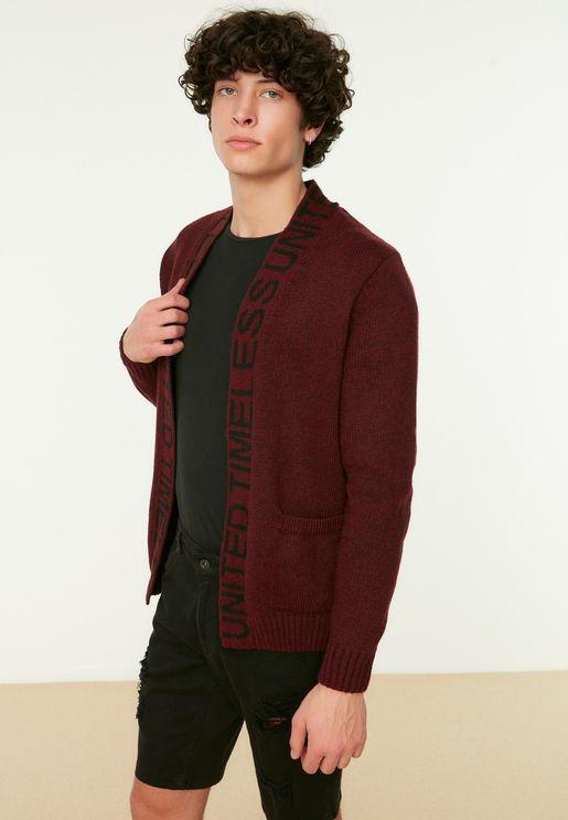 Slogan Knitted Cardigan