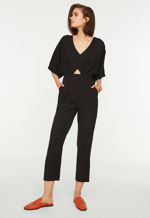 Front Cut Out Wide Sleeve Jumpsuit