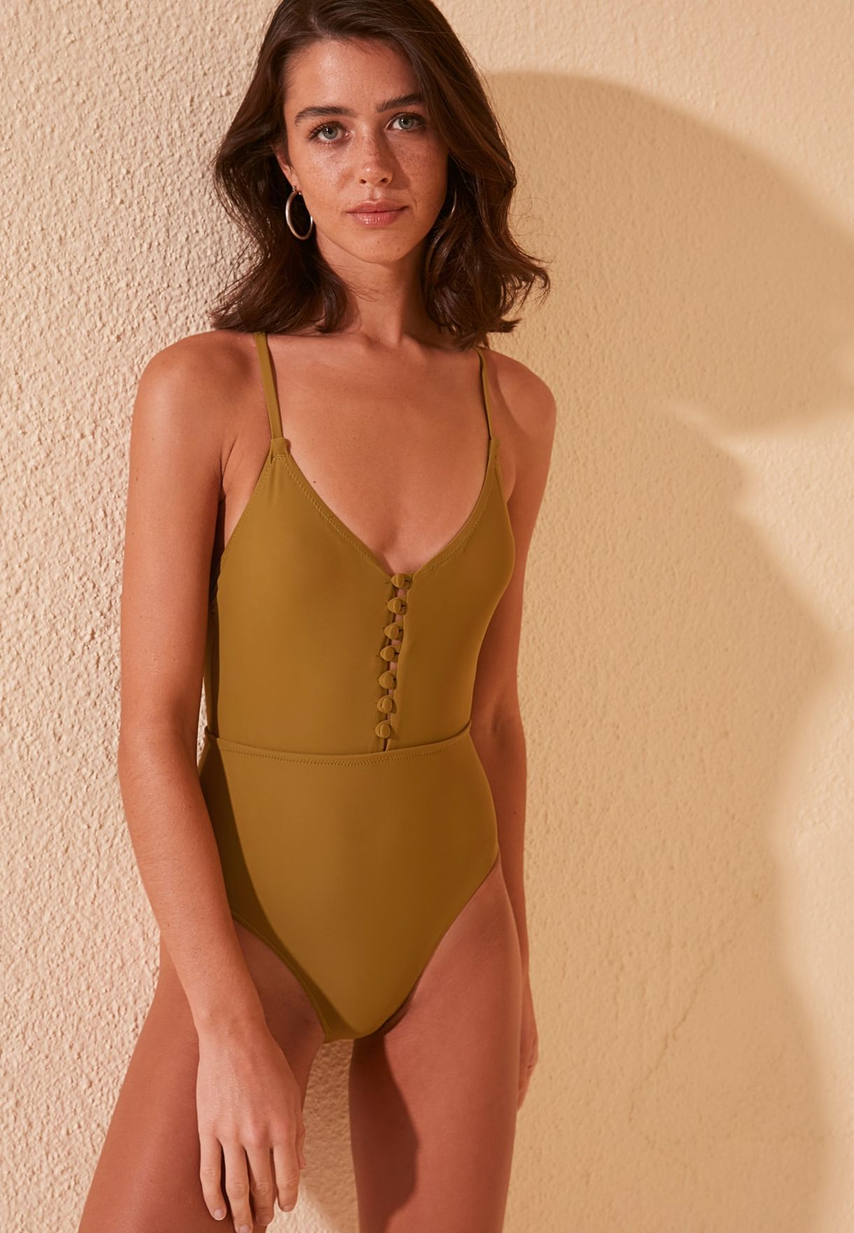 Button Detail Swimsuit