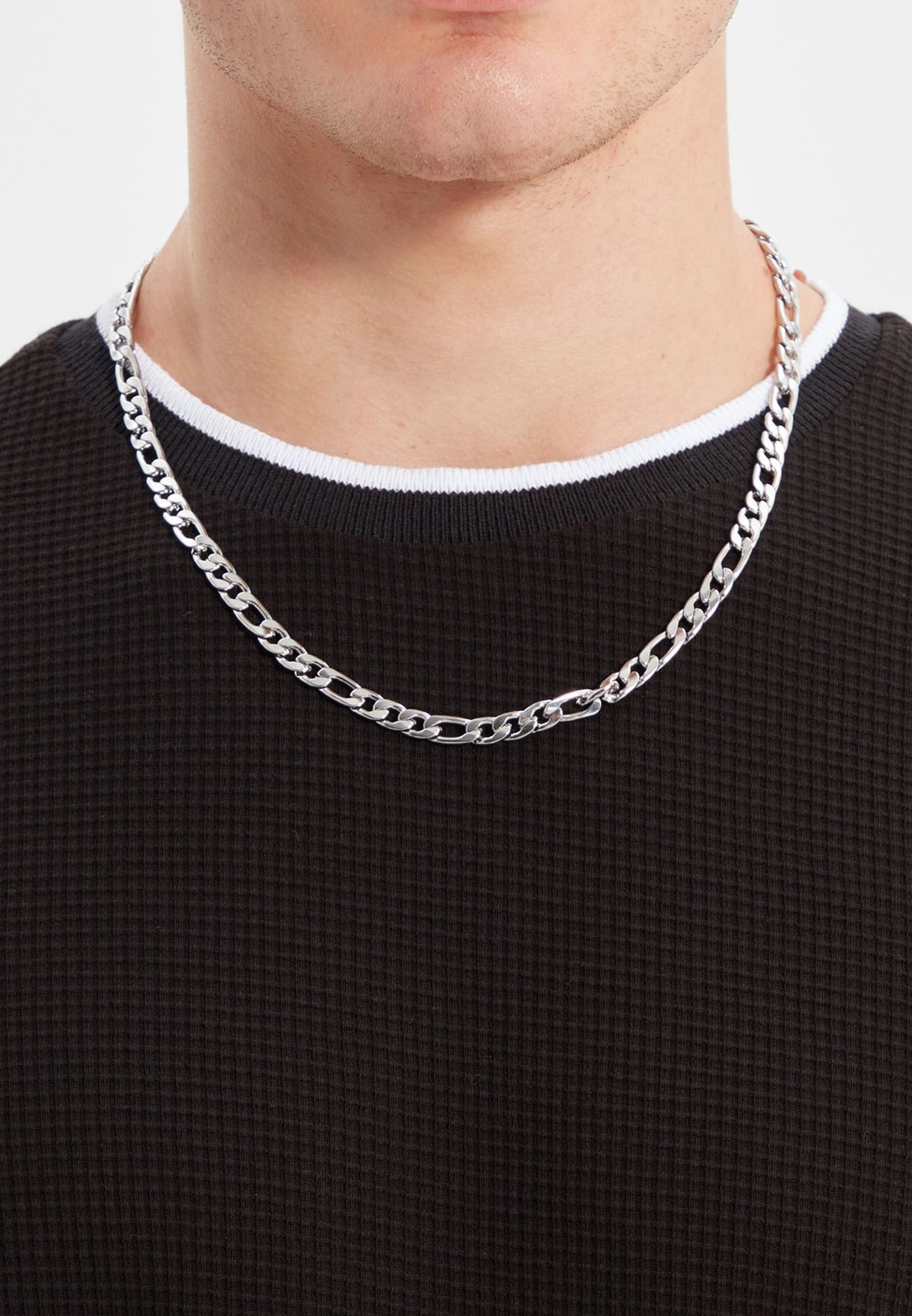 Link Chain Necklace & Beaded Bracelet Set