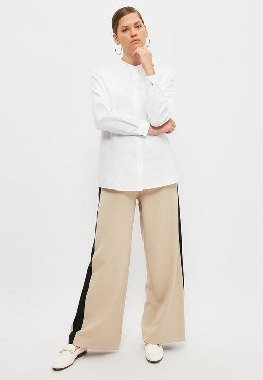 Wide Leg  Side Striped Pants