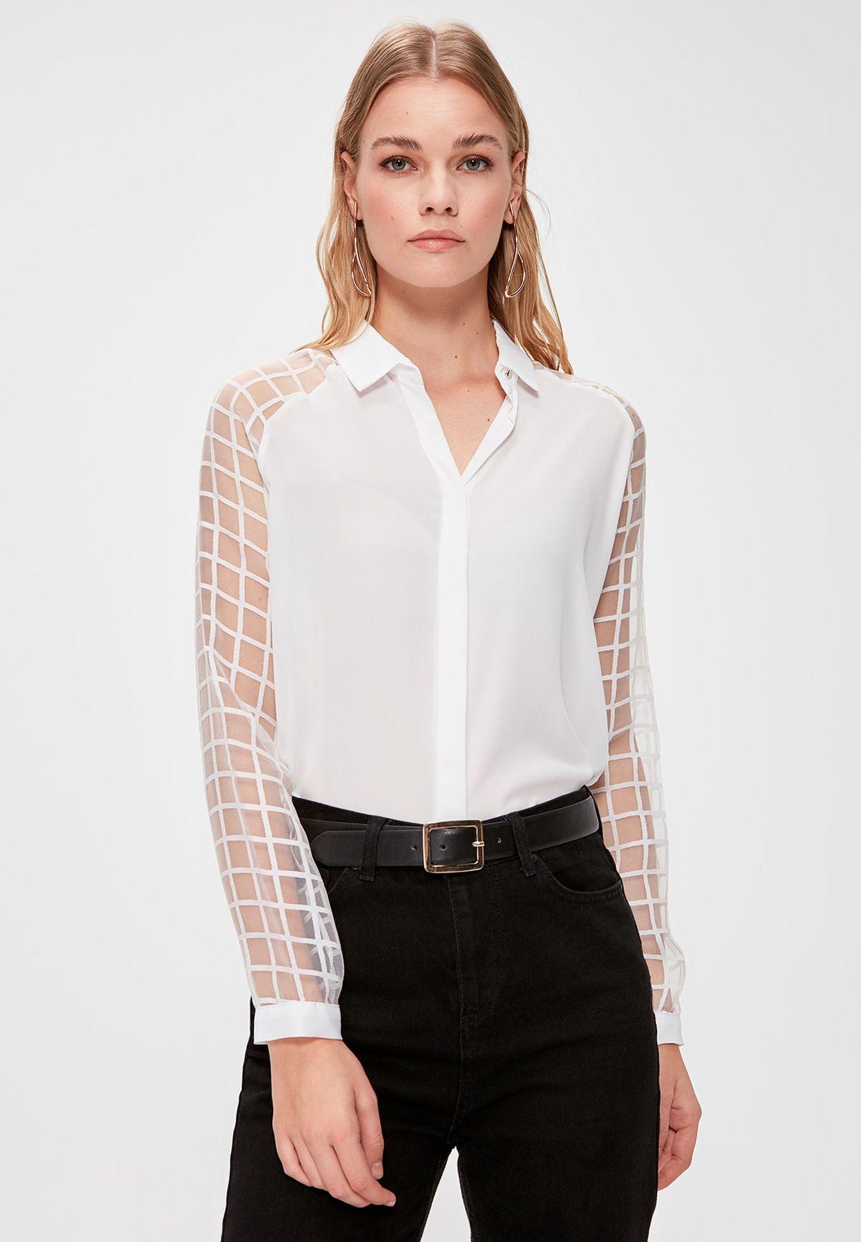 Mesh Sleeve Shirt
