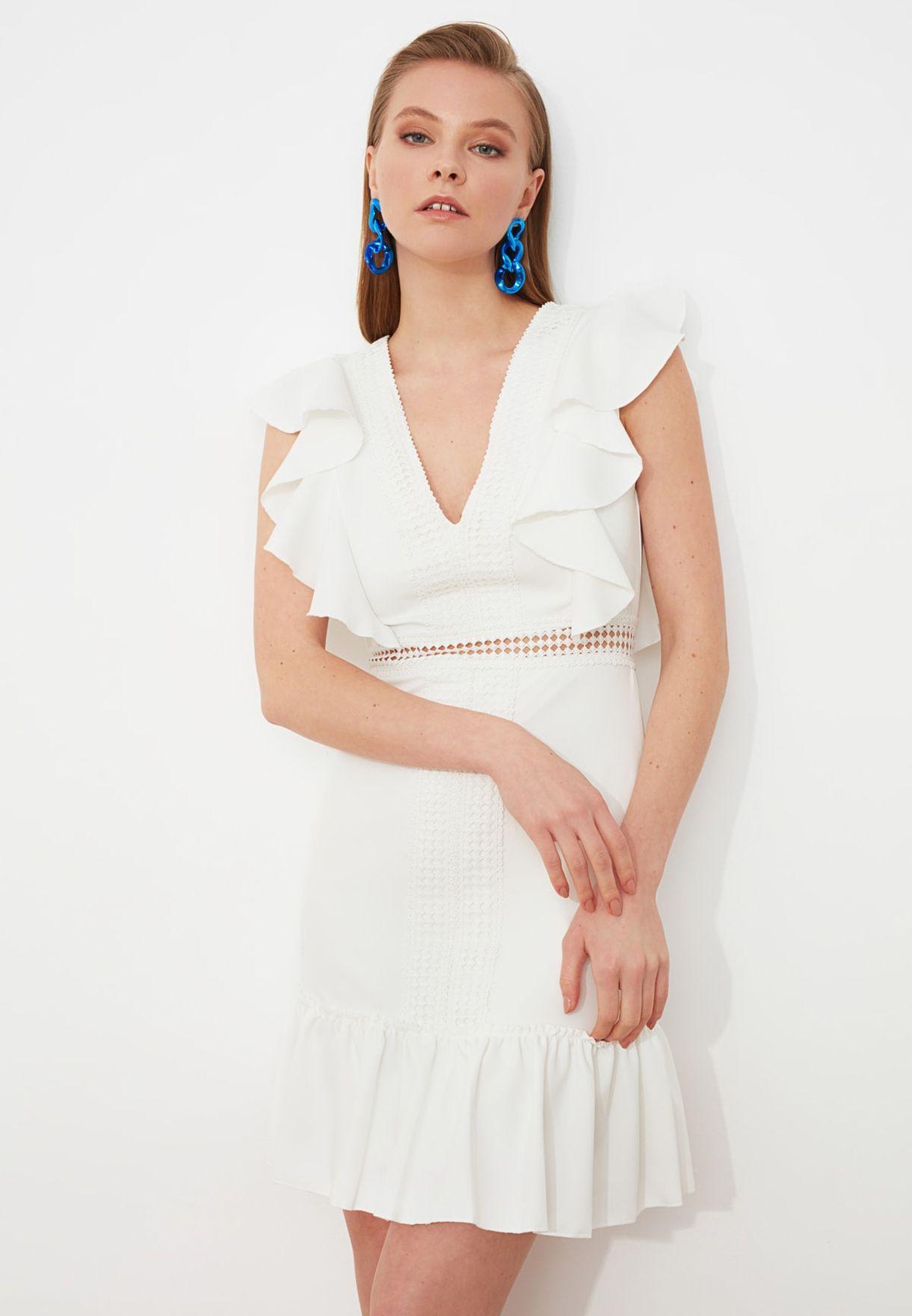 Ruffle Detail Broderie Dress