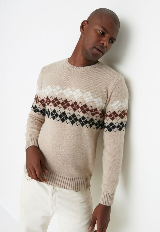 Jacquard Panel Knitted Sweater