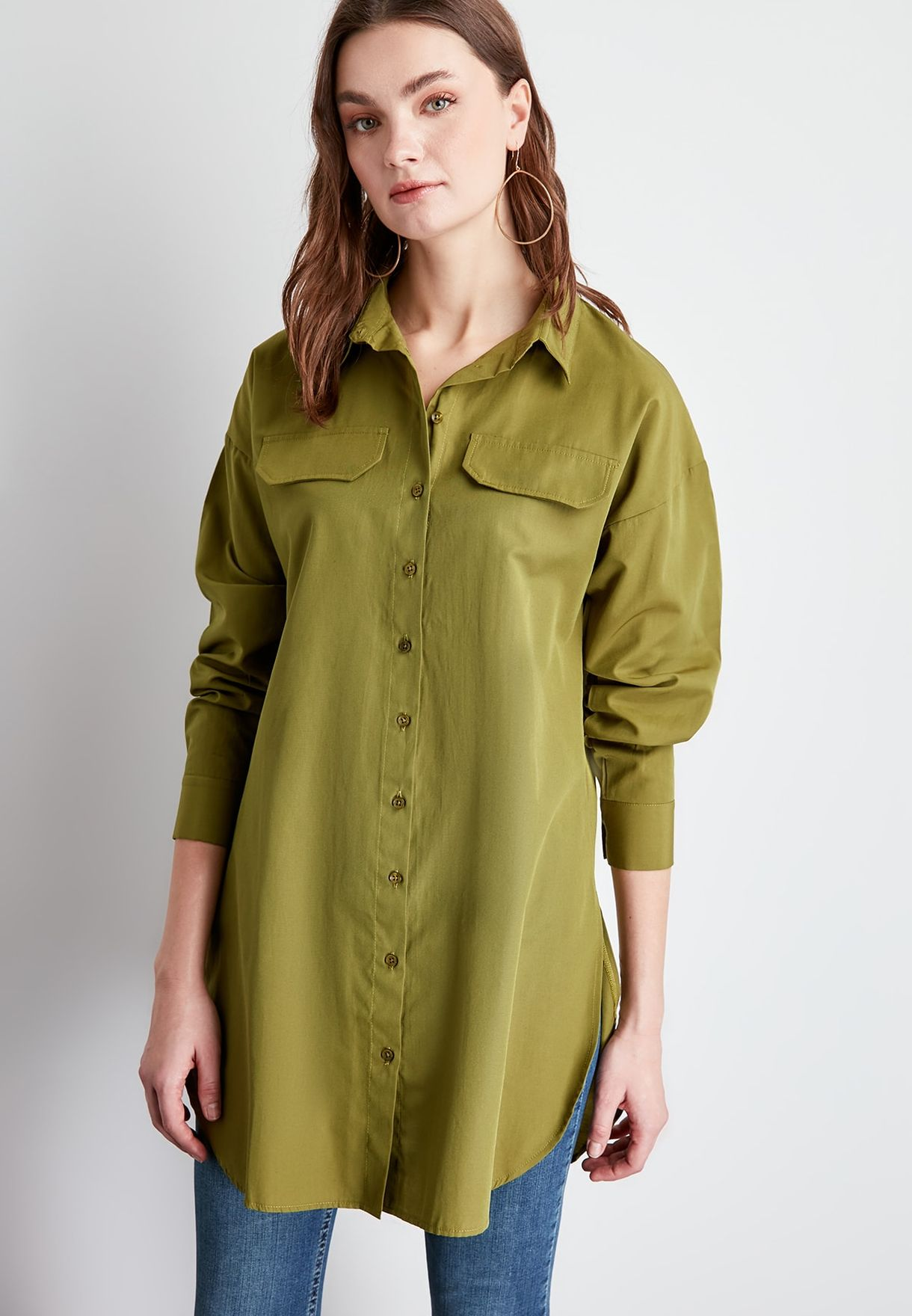 Longline Button Down Shirt