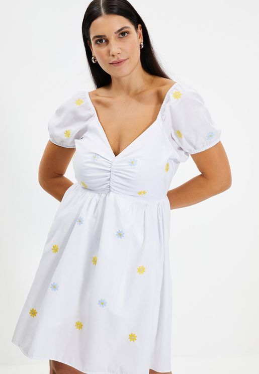 Embroidered Pleated Dress