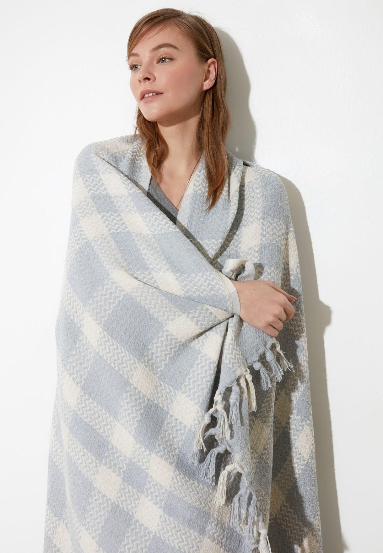 Gray Plaid Double Blanket