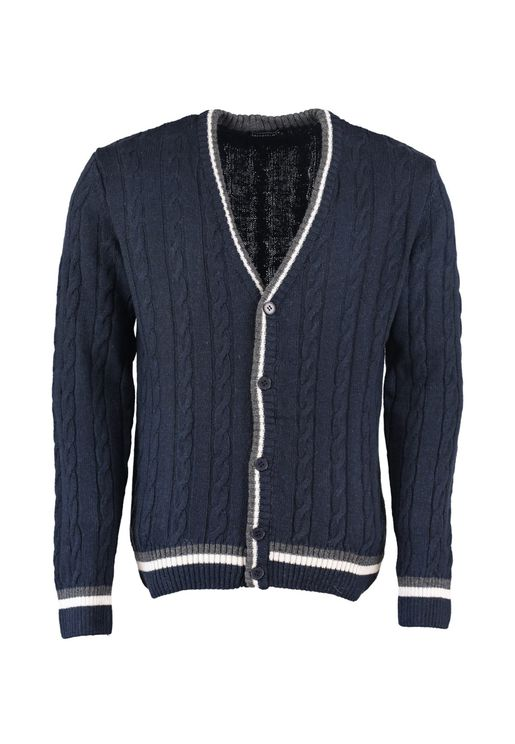 Contrast Edge Cable Knit Cardigan