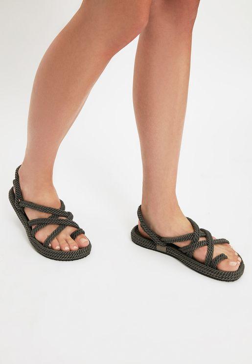 Cross Strap Flat Sandals