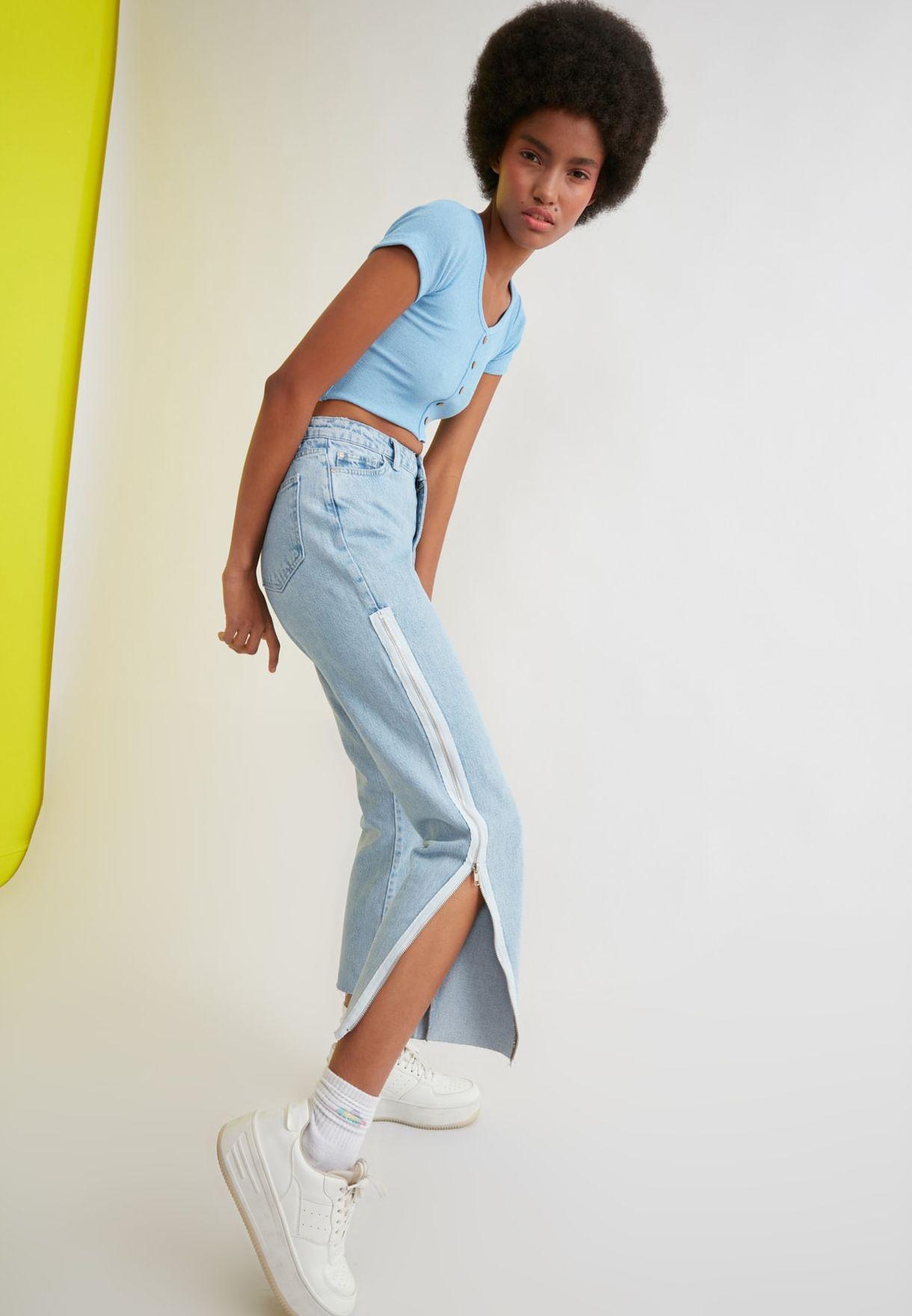 Zipper Detail High Waist Mom Jeans