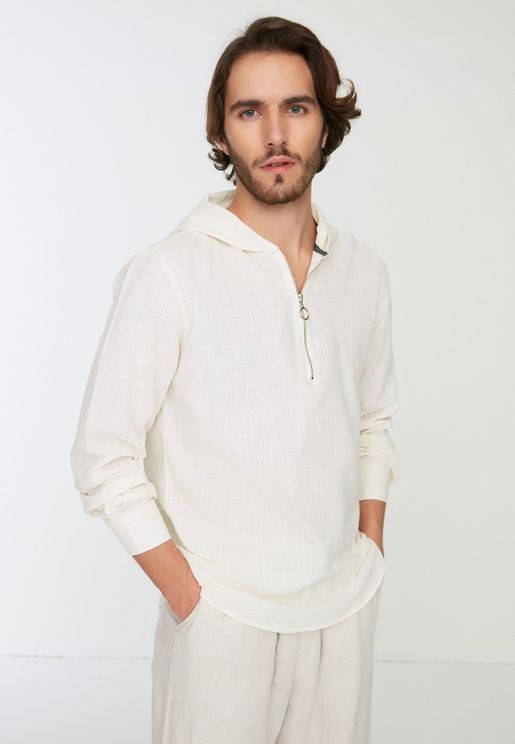 Textured Relaxed Hooded Shirt