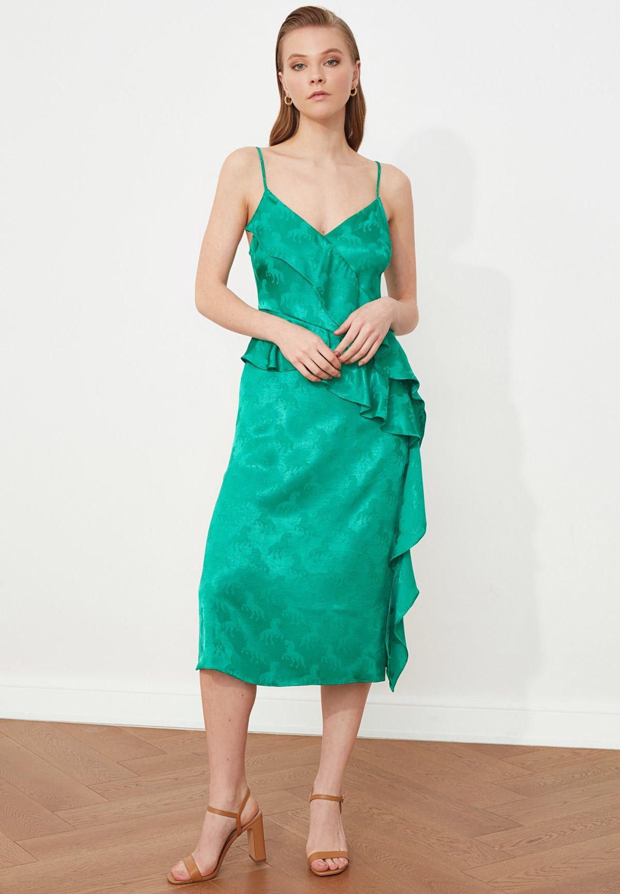 Ruffle Detail Shimmer Dress