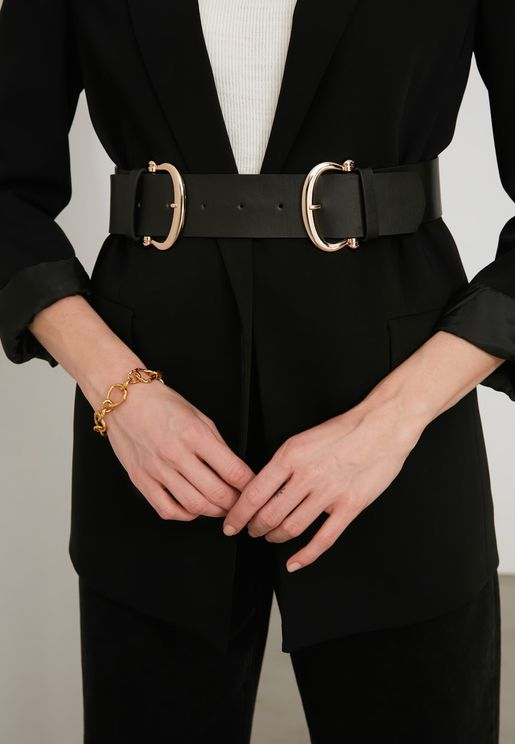 Black Double Buckle Leather Look Waist Belt