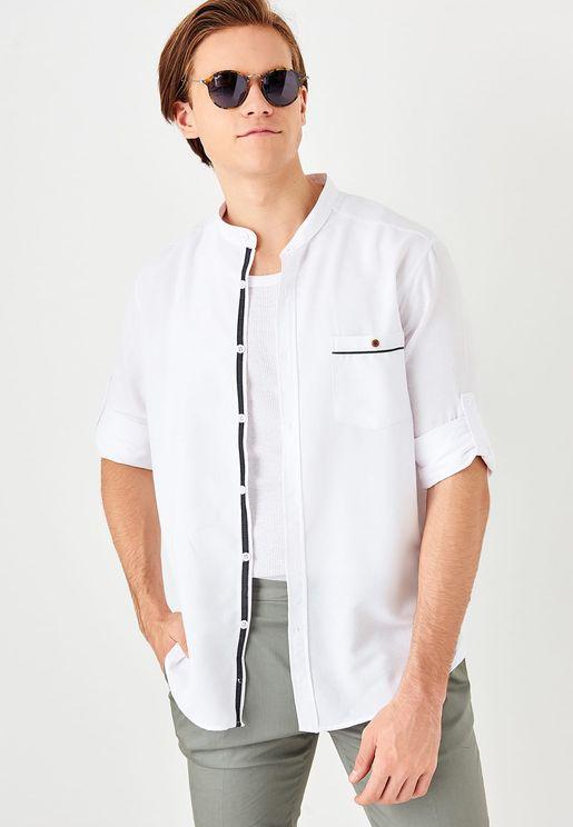 Granded Collar Slim Fit Shirt