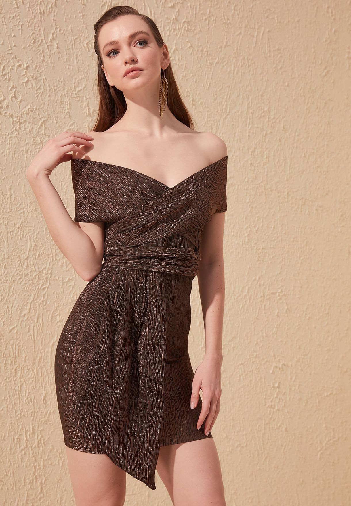 Asymmetric Shimmer Bardot Dress