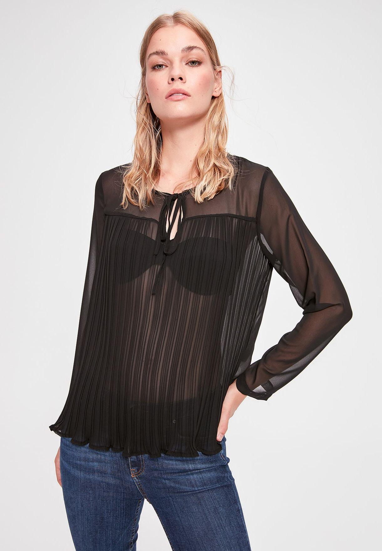 Buy Trendyol Black Ruffle Hem Sheer Top For Women, Uae 27680atkkbcp