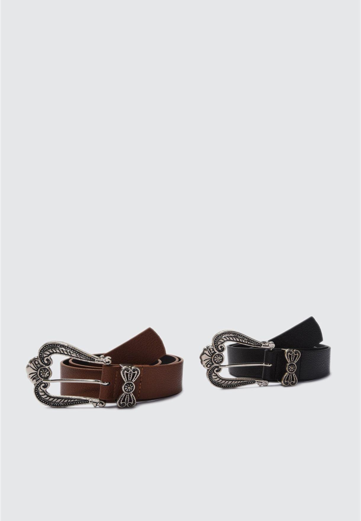 2 Pack Buckle Detail Belt