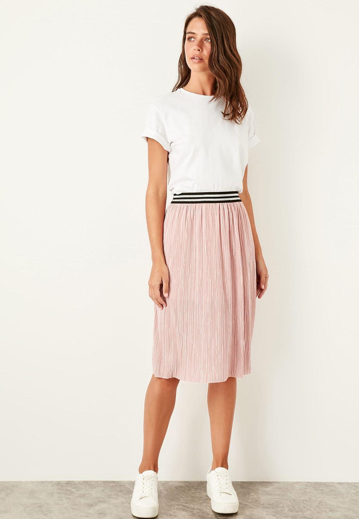 30f4a60321 Shop Trendyol pink Striped Waist Plisse Skirt TWOSS19FV0206 for ...