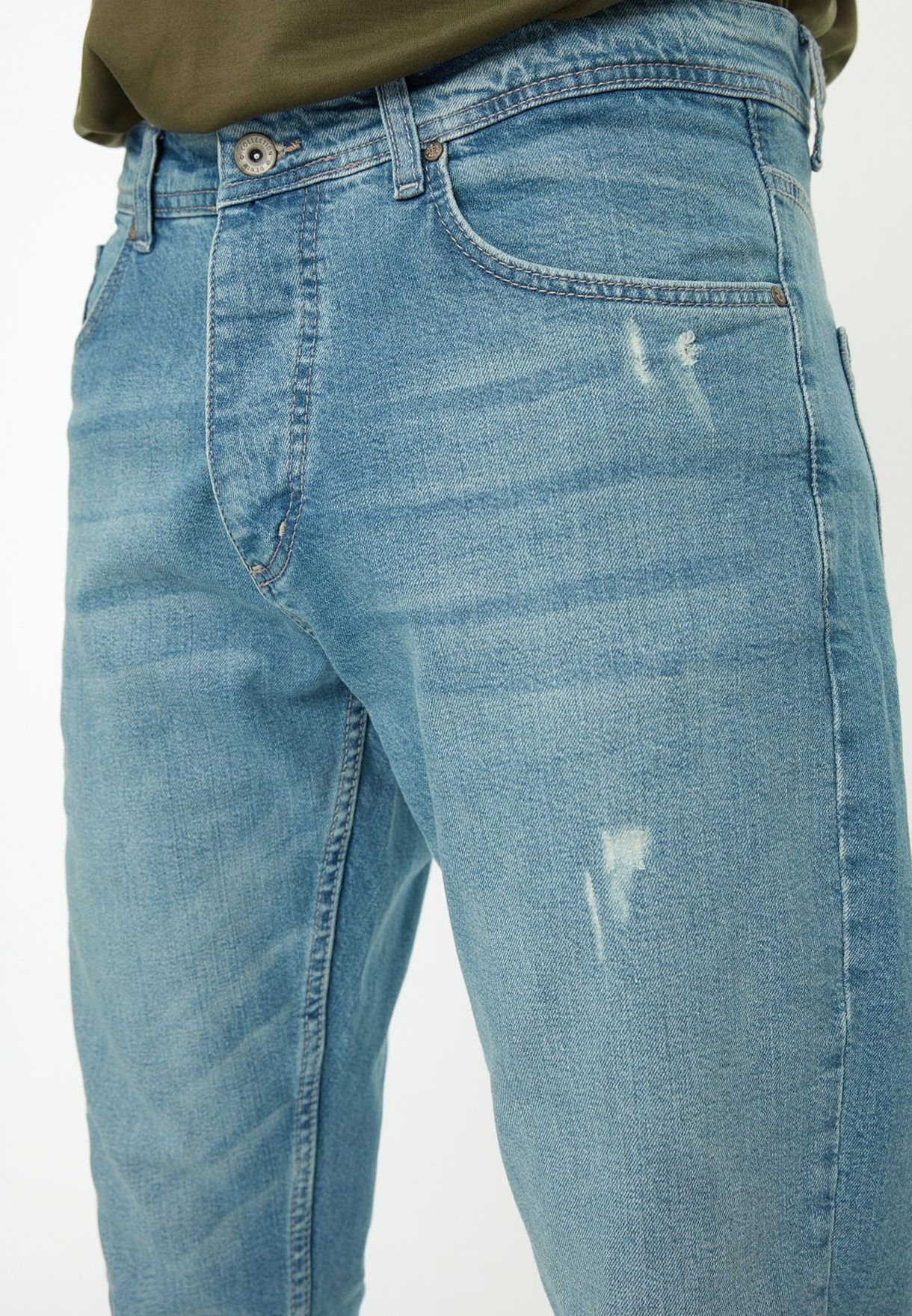 جينز سكيني بنمط ممزق