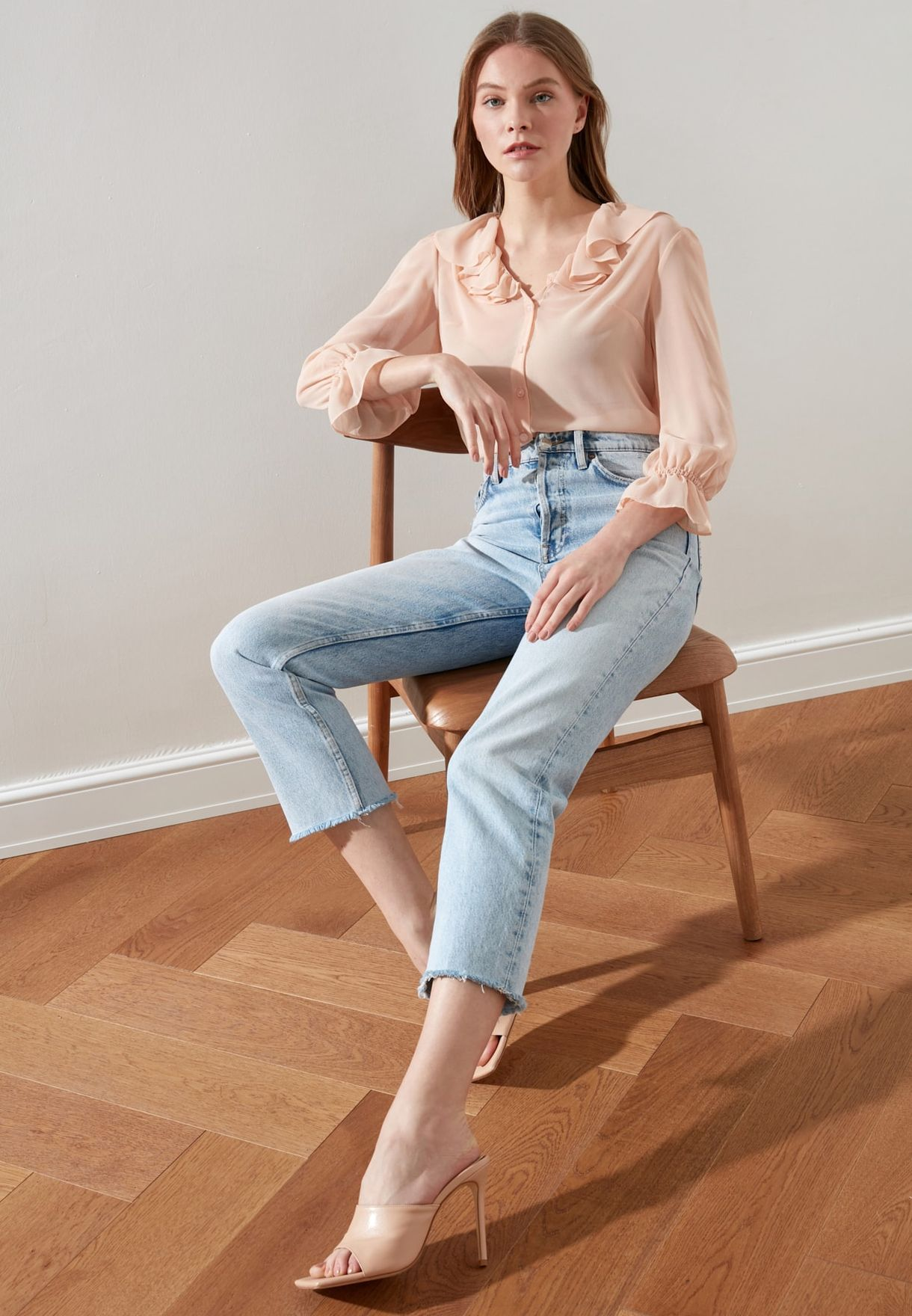 Button Down Layered Sleeve Top