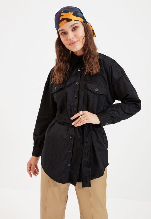 Pocket Detail Button Down Coat